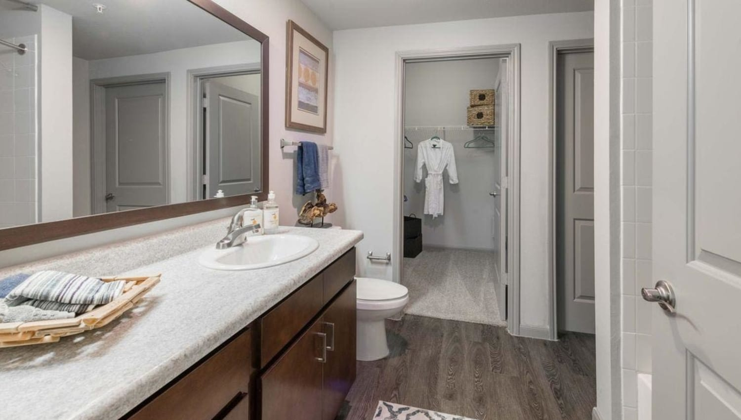 Beautiful bathroom with lots of counter space at Olympus at Waterside Estates in Richmond, Texas