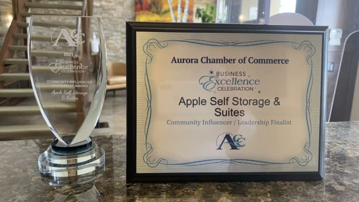 Apple Self Storage & Suites Receives Business Excellence Award