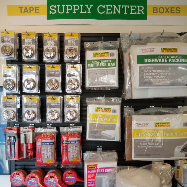 Packing supplies at Lockaway Storage in San Antonio, Texas