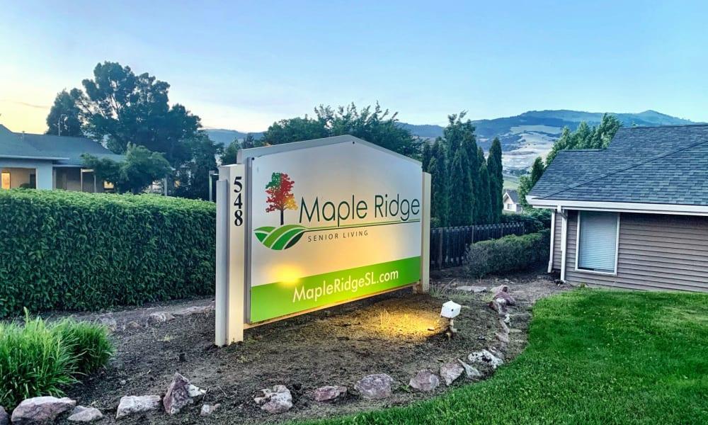 Sign at Maple Ridge Senior Living