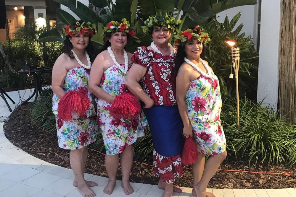 Luau ladies enjoying the ChampionsGate courtyard
