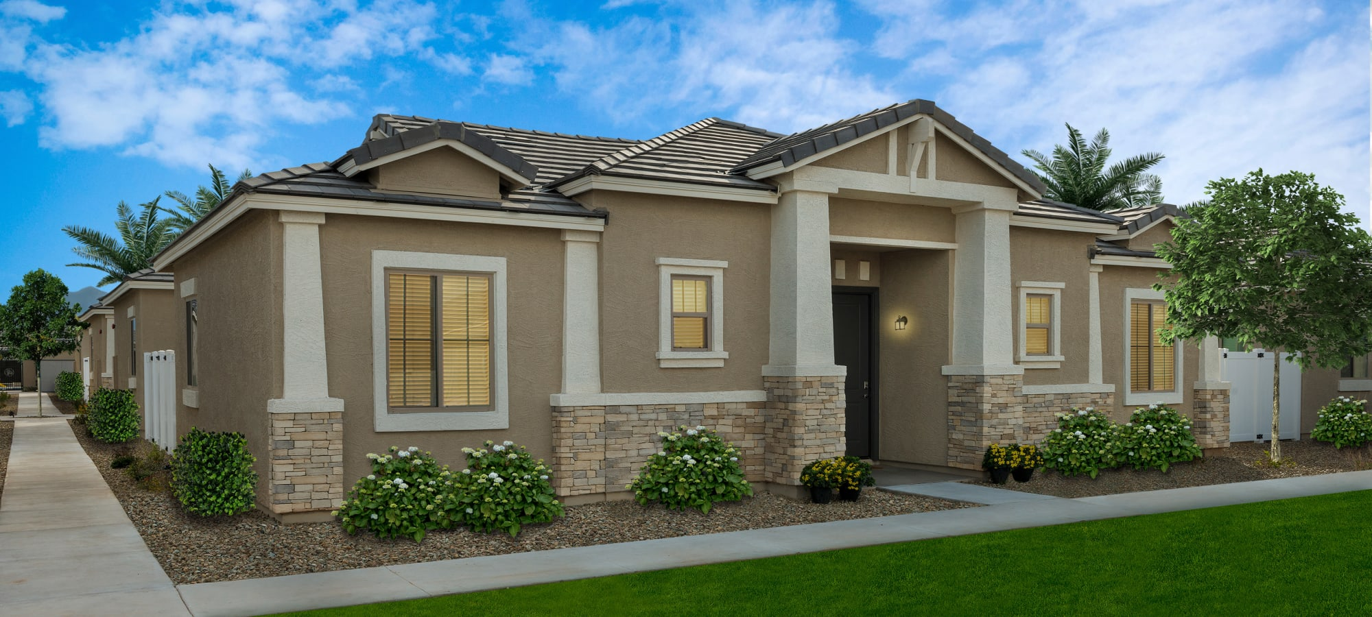 Exterior view of the beautiful apartment homes at {[location_name}} in Surprise, Arizona