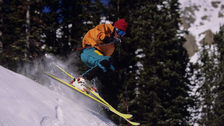 A person gets air while skiing at Jackson Hole Resort
