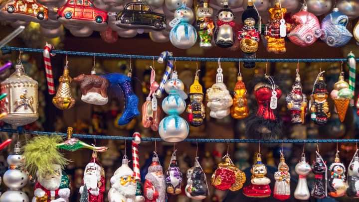 Festive ornaments hung up in a local shop near Olympus Town Center