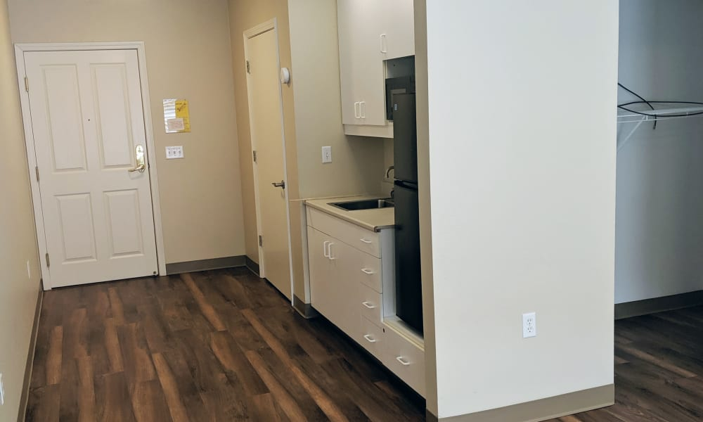 Studio apartment at Heron Pointe Senior Living in Monmouth, Oregon
