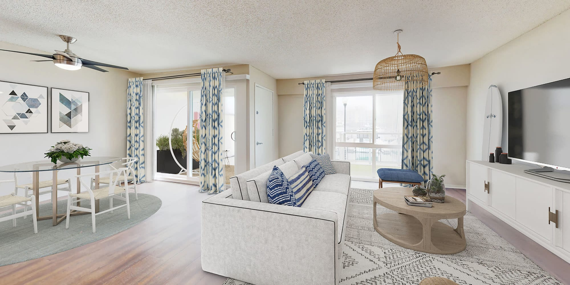 Spacious living room and dining area at The Tides at Marina Harbor in Marina del Rey, California