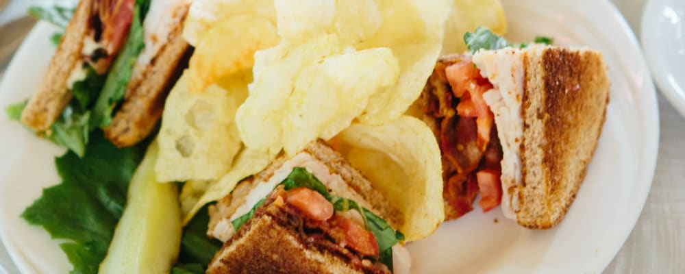 Club sandwich with potato chips at The Springs at Missoula in Missoula, Montana.