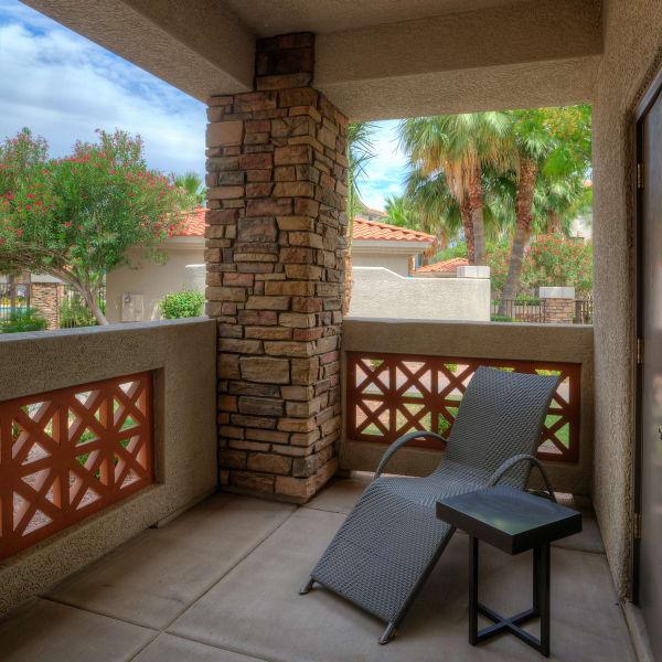 Private balcony of model home at San Marbeya in Tempe, Arizona