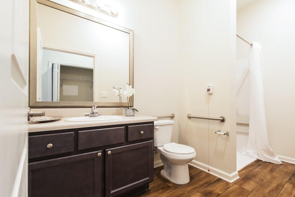 Accessible bathroom at The Mansions at Alpharetta in Alpharetta, Georgia