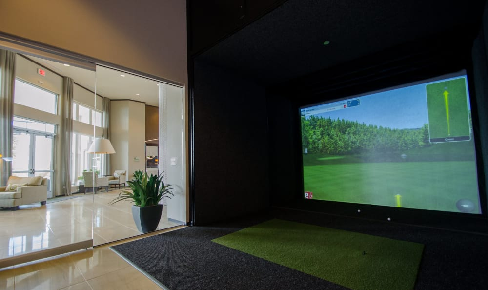 virtual golf at GreenVue Apartments