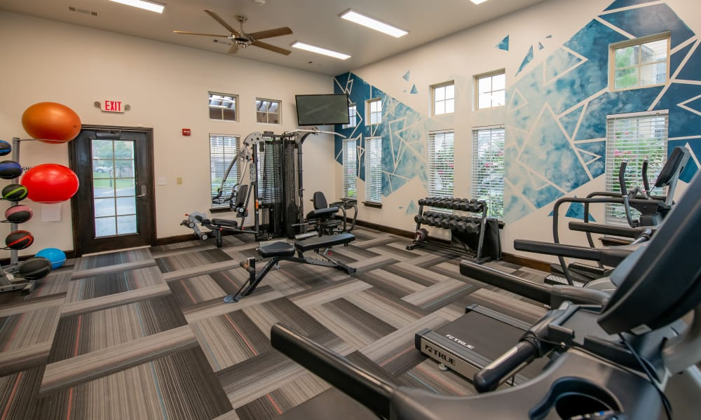Fitness Center with machines at Cascata Apartments in Tulsa, Oklahoma
