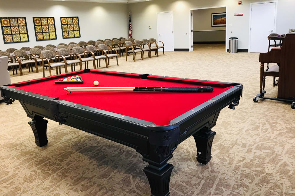A pool table at Lionwood in Oklahoma City, Oklahoma.