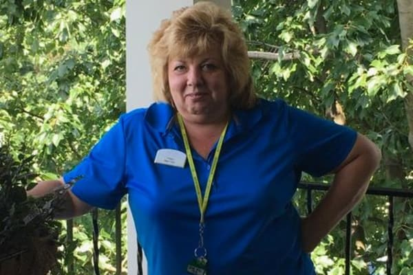Employee of Discovery Senior Living in Bonita Springs, Florida celebrating 7 years of perfect attendance
