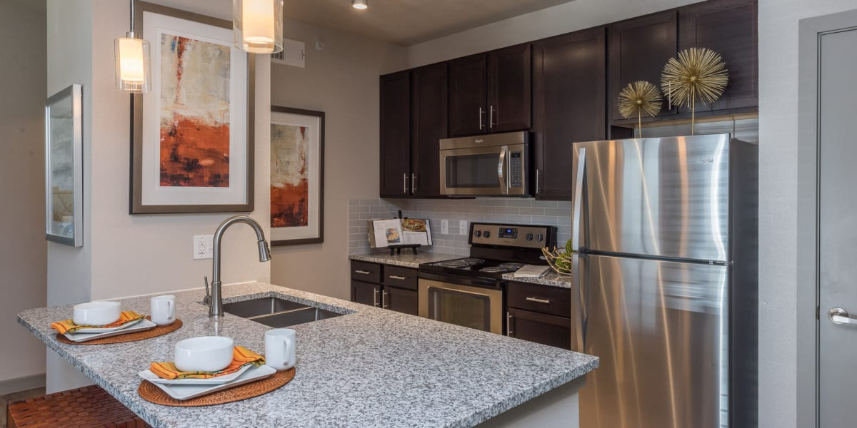 Kitchen with stainless steel appliances at Enclave at Westport in Roanoke, Texas