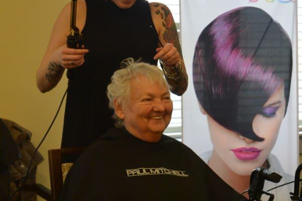 Barbara is getting ready for a photo shoot at the Beauty Parlor at The Summit at Discovery Senior Living in Bonita Springs, Florida