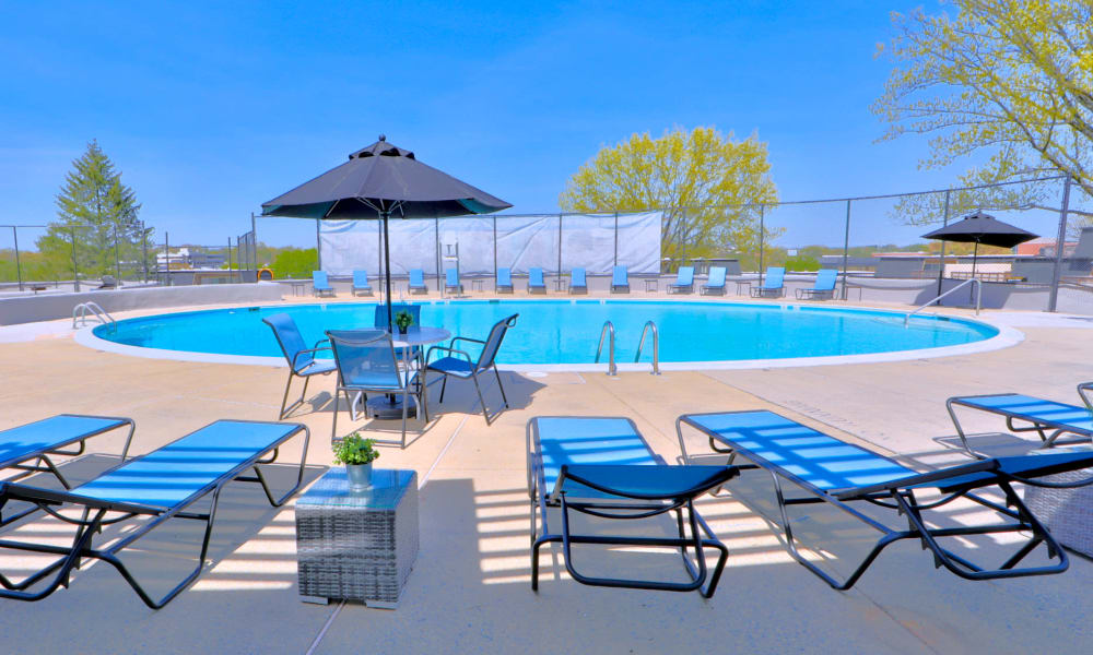 Resort Style Pool Deck Overlooking the Pool at The Colony at Towson Apartments & Townhomes