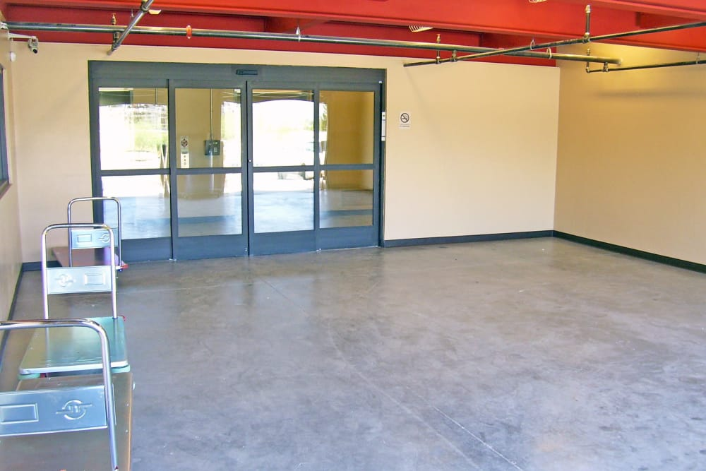 Storage facility loading zone at First and River Self Storage