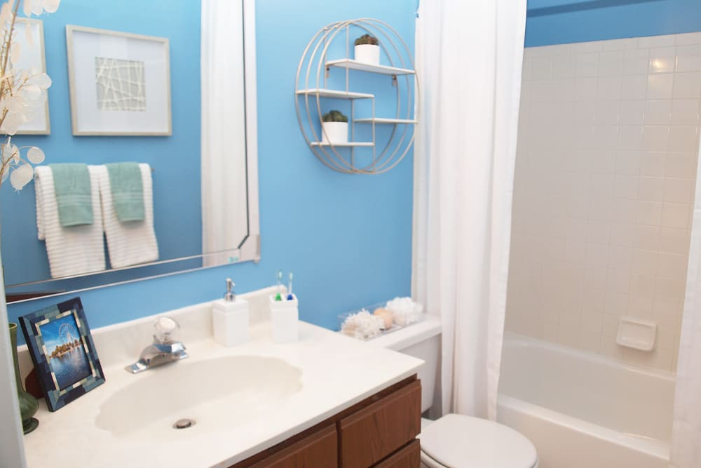 Bathroom featuring a shower and bathtub at Fox Chase South in Southgate, Kentucky