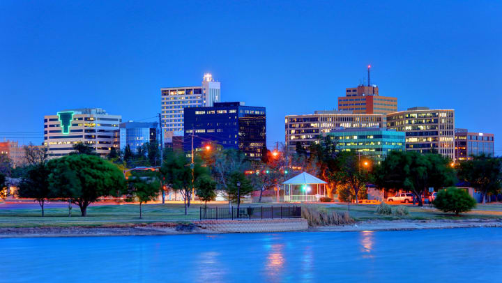 Downtown Midland at night