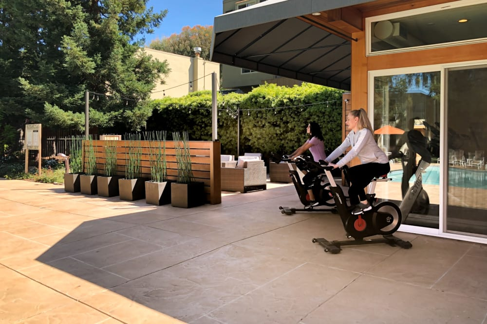 Resident working out outdoors at Brookdale Apartments in San Jose, California