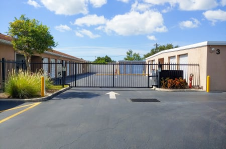 Gate into the facility at StorQuest Self Storage in Fresno, California