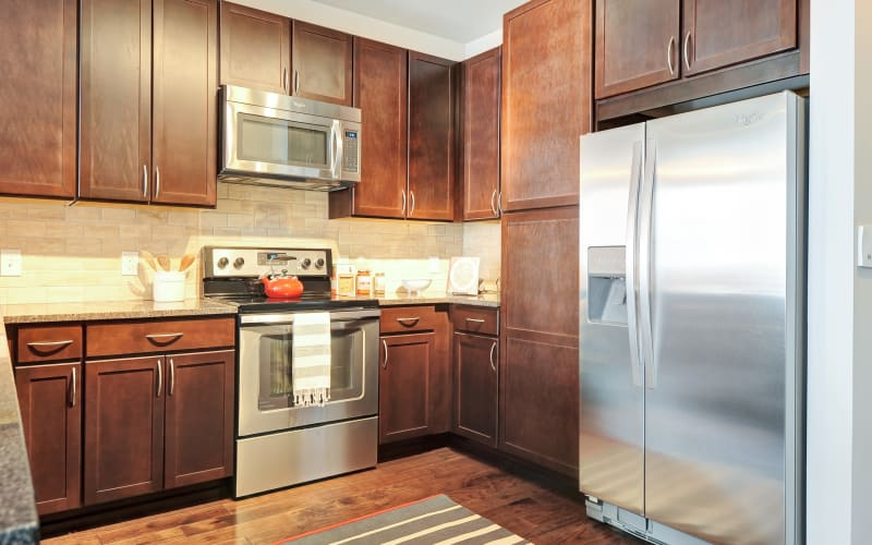 Open kitchen at The Mark at Brickyard Apartment Homes in Beltsville, Maryland.