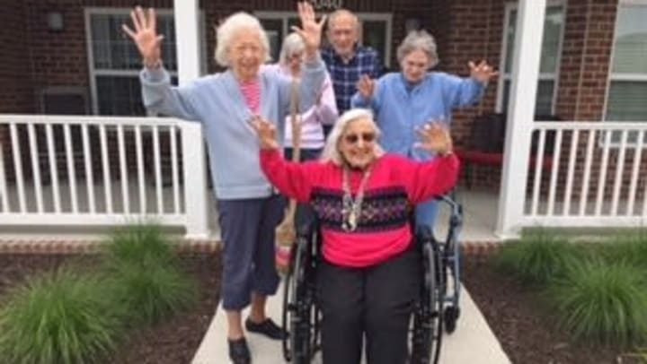Residents having a good time at a senior living facility