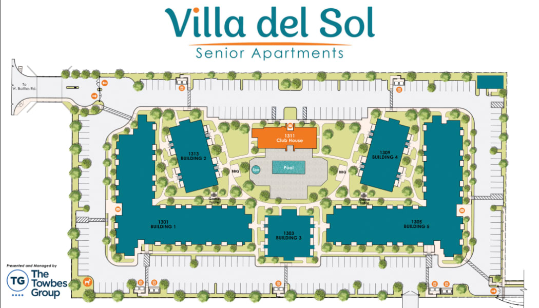 Site plan rendering of our active senior living community at Villa del Sol in Santa Maria
