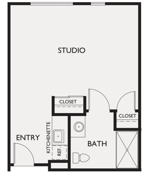 Assisted Living studio at Estancia Del Sol in Corona, California