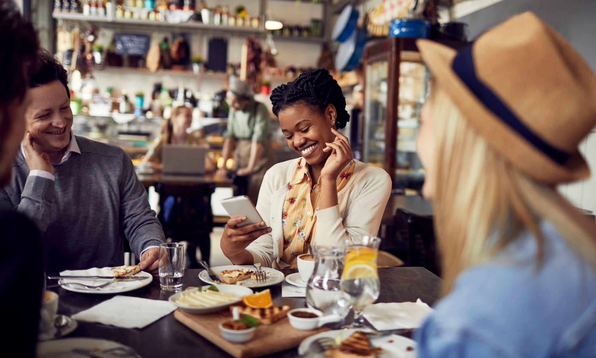 Residents meeting for coffee and breakfast at their favorite restaurant near Sendero Huntington Beach in Huntington Beach, California