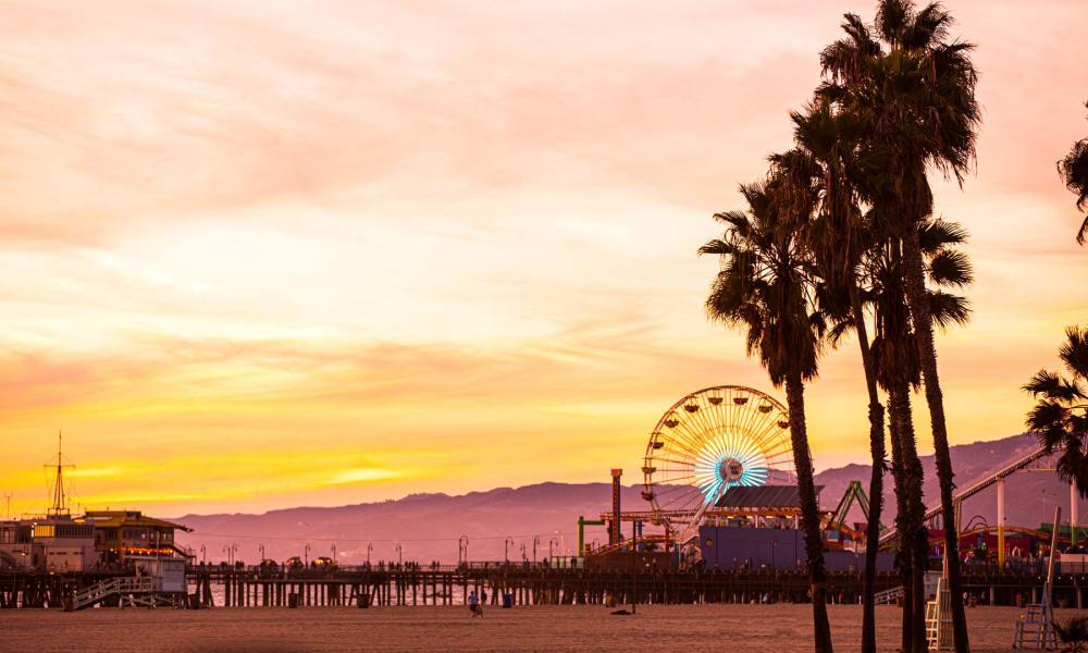 Venice Beach at sunset near Waters Edge at Marina Harbor in Marina Del Rey, California