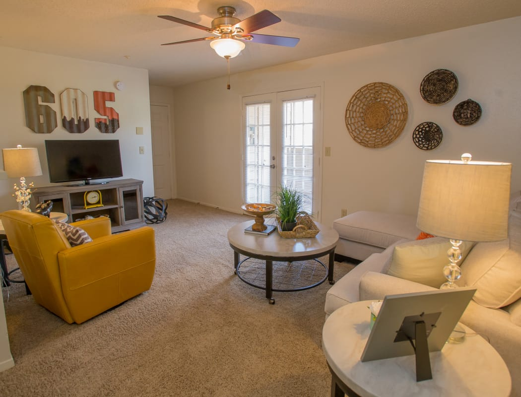 Beautiful living room at Cimarron Trails Apartments in Norman, Oklahoma