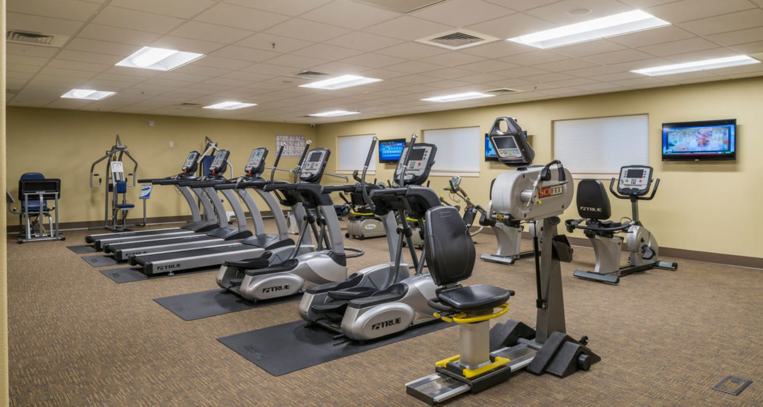 Exercise equipment at Touchmark at Meadow Lake Village Health & Fitness Club in Meridian, Idaho