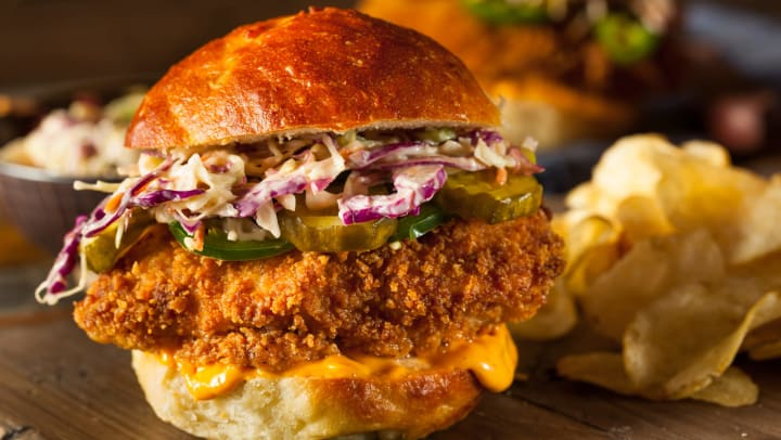 Delicious gourmet fried chicken sandwich at a local restaurant near Olympus Town Center