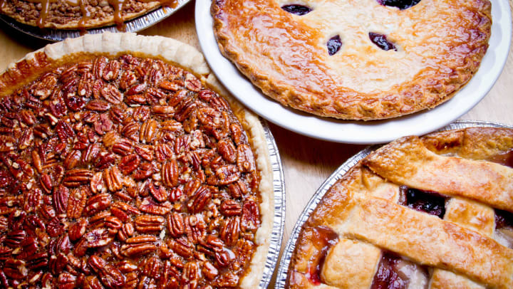 Delicious assortment of pies at a local bakery in Katy