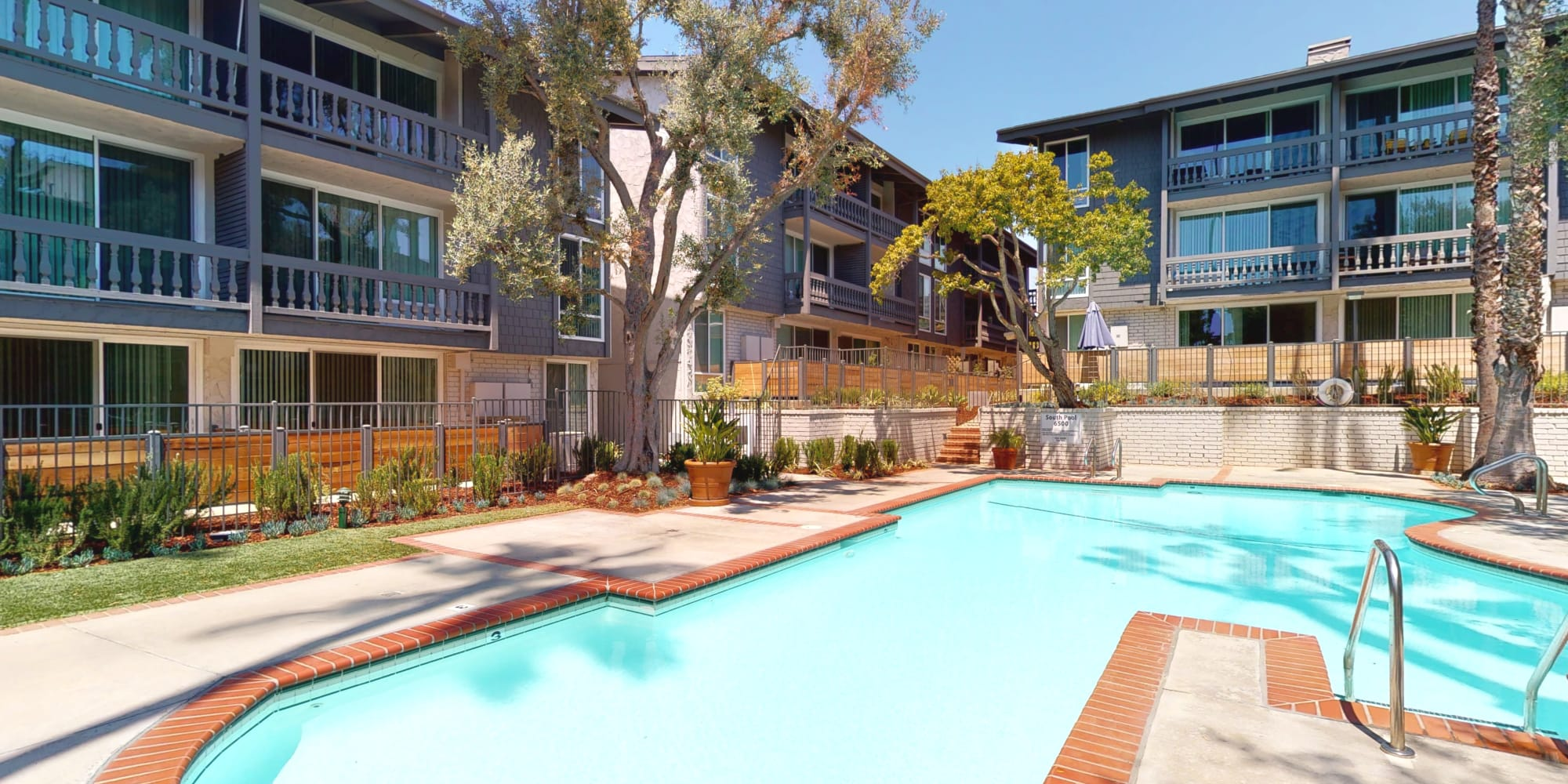 Renovated apartment community with mature trees and sparkling pool at The Meadows in Culver City, California