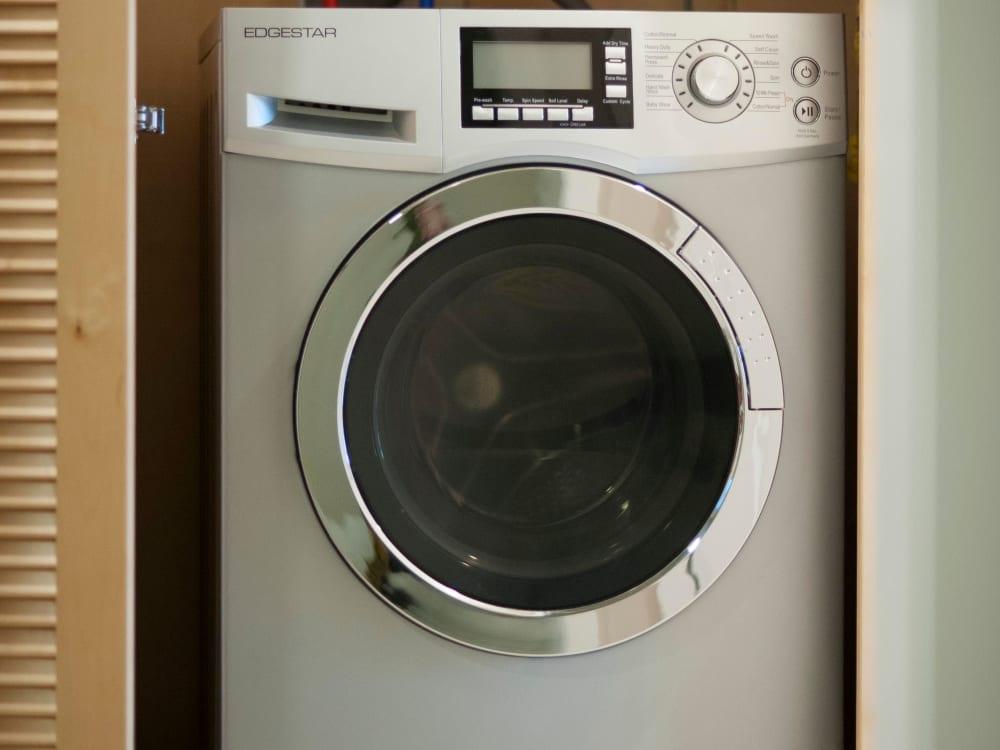 Energy-efficient washer/dryer in a model apartment at Brooklyn Yard in Portland, Oregon
