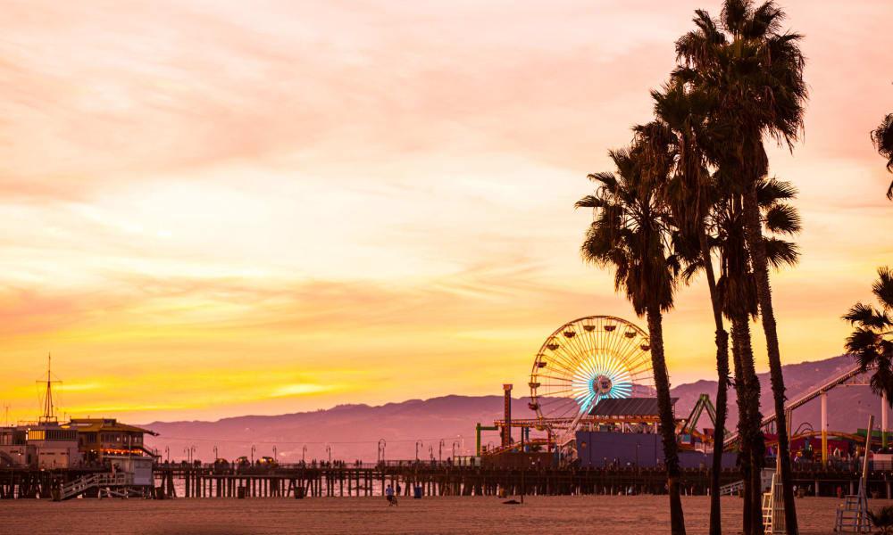 Sunset at the Santa Monica pier near Sunset Barrington Gardens in Los Angeles, California