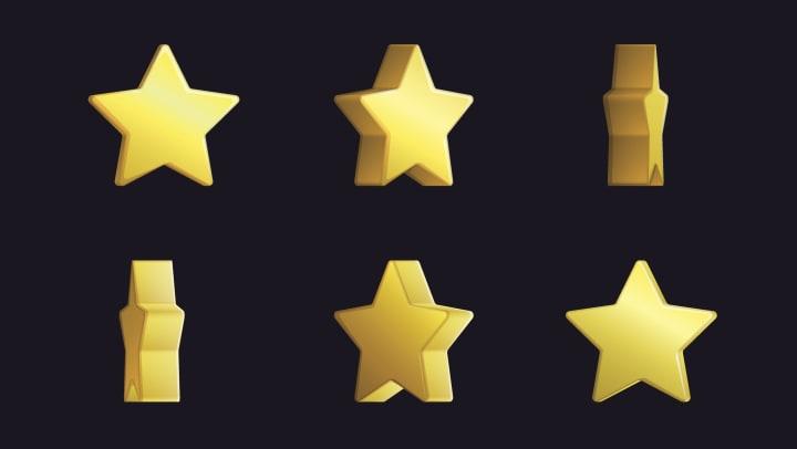 Sprite sheet effect animation of a spinning golden star.