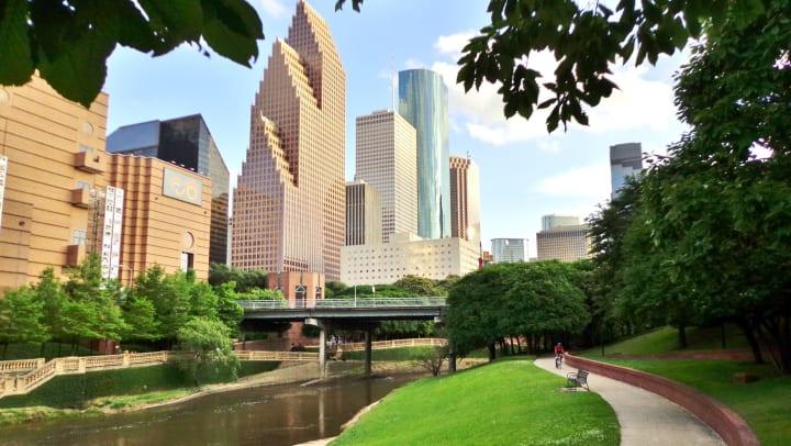 Wide shot of Houston