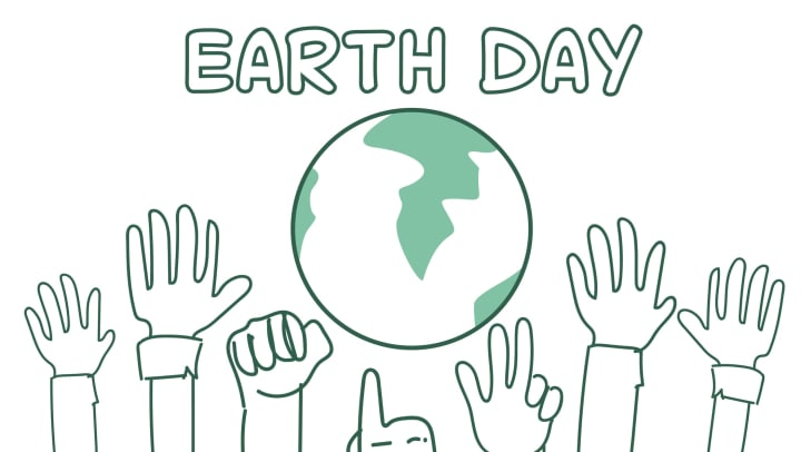Earth Day background with hands raised toward globe