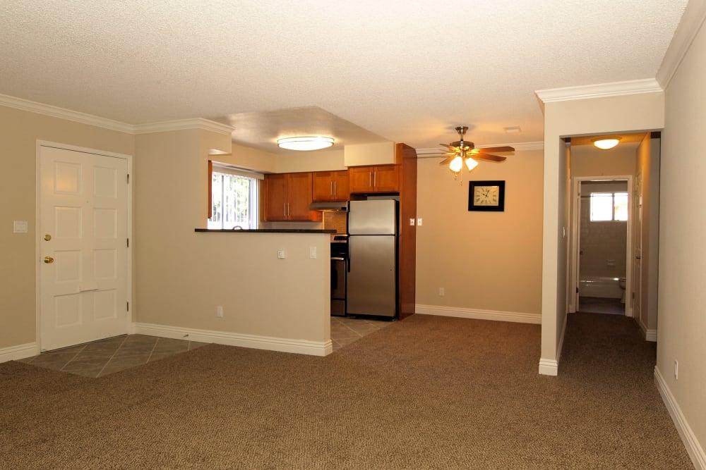 Kitchen view from living room at Spring Lake Apartment Homes in Santa Rosa, California