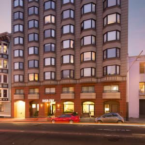 Street view at dusk of  Tower 737 Condominium Rentals in San Francisco, California