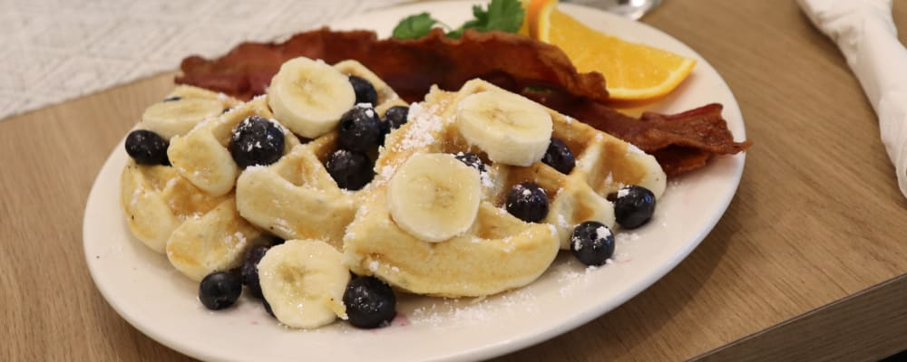 Waffles served in dinning room at The Springs at Clackamas Woods in Milwaukie, Oregon