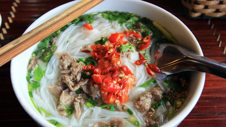 A delicious bowl of Pho served at Pho In The Box near Olympus Town Center in Keller, Texas.