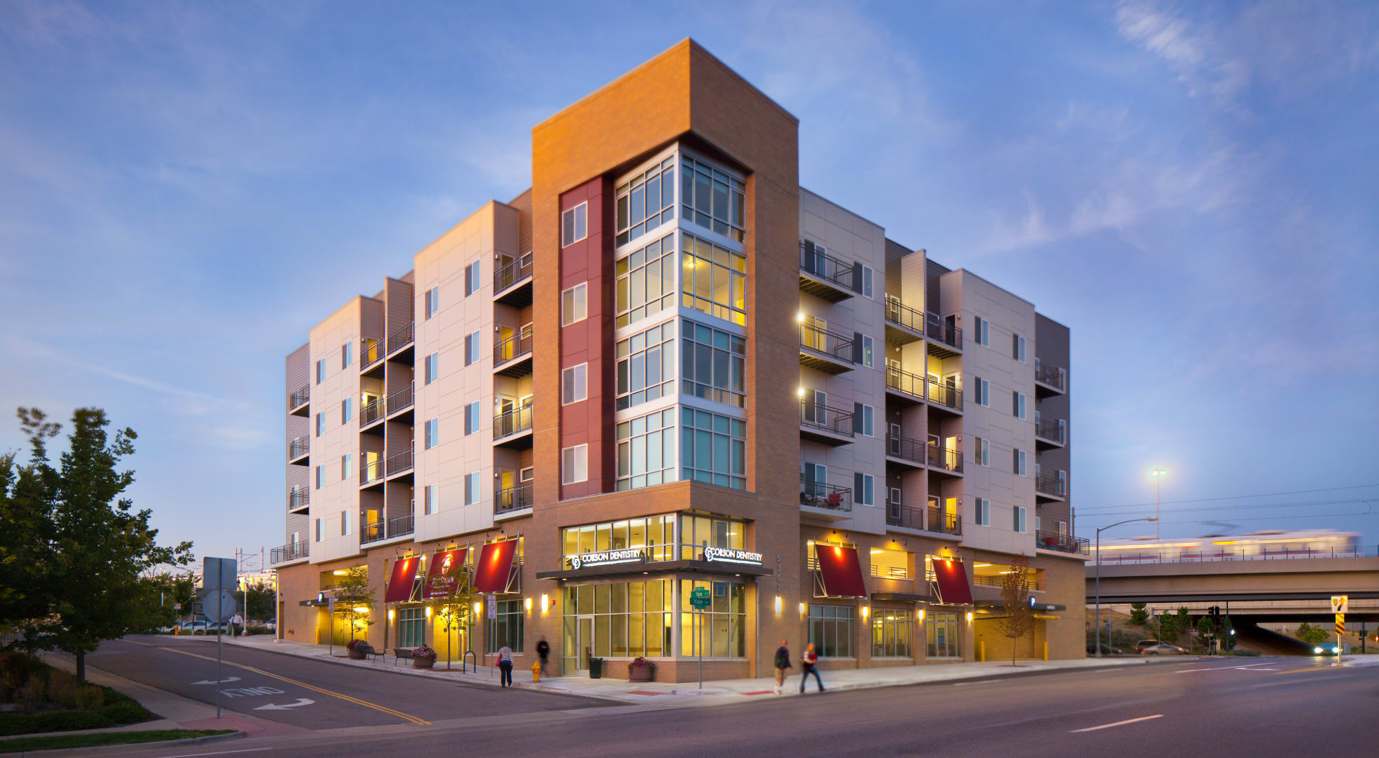 Beautiful exterior shot of the building at Yale Station Apartments in Denver, Colorado
