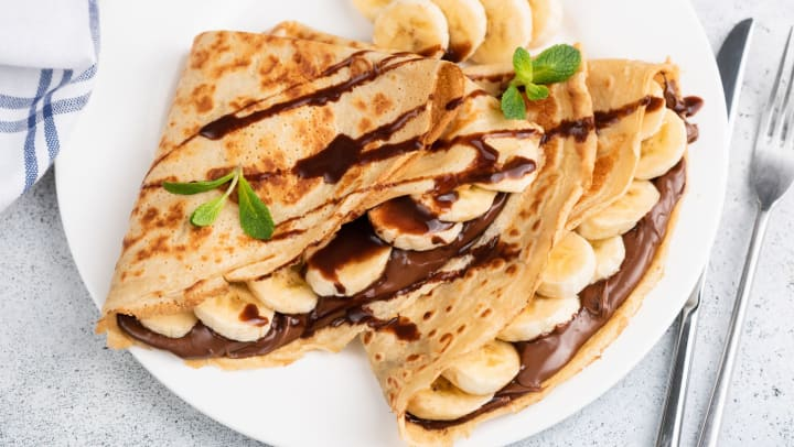 Crepes filled with Nutella and banana in a blog article on our website at The Ranch at Shadow Lake in Houston, Texas.