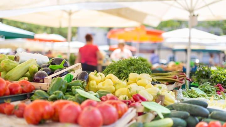 Fresh produce at a local farmers market near Olympus Carrington