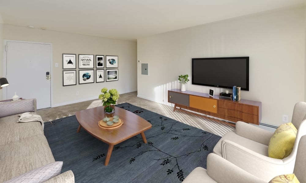 Living Room at Hill Brook Place Apartments in Bensalem, Pennsylvania