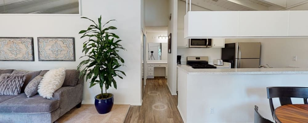 View a virtual tour of a 1 bedroom luxury home at Mediterranean Village Apartments in Costa Mesa, California